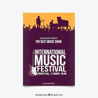 Cartaz do festival de música em estilo plano