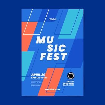 Cartaz do festival de música geométrica de design plano