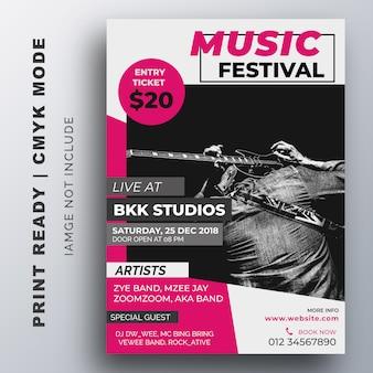 Cartaz do festival de música. modelo de panfleto
