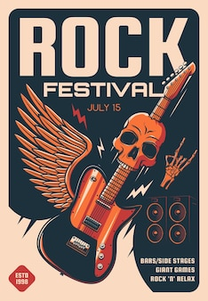 Cartaz do festival de rock de música pesada
