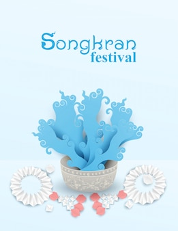Cartaz do festival de songkran tailândia
