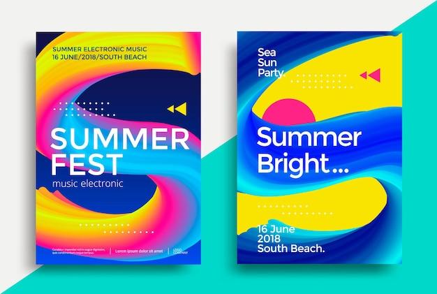 Cartaz do festival de verão. folheto de festa do clube noturno. letra s com gradientes abstratos.