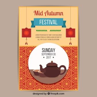 Cartaz do festival do outono do meio ano com bule de teapot