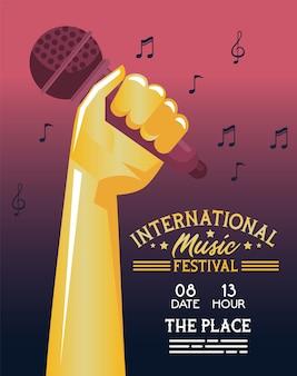 Cartaz do festival internacional de música com mão e microfone