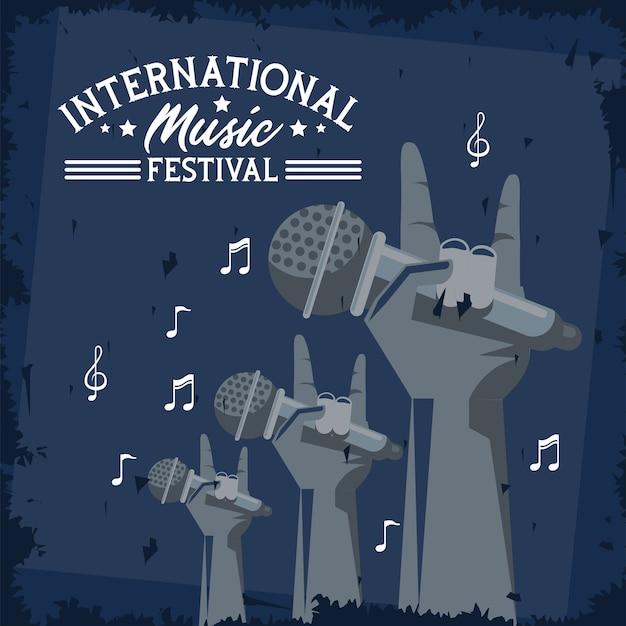 Cartaz do festival internacional de música com mãos levantando microfones