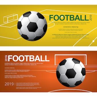 Cartaz do futebol do futebol de 2 bandeiras