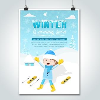 Cartaz do inverno dos desenhos animados da menina