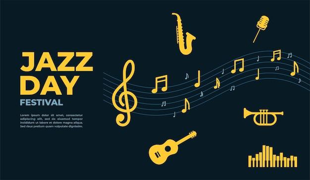 Cartaz do jazz day e modelo de design de banner para promoção de evento de banner de cartaz.