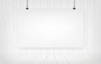 Cartaz do Livro Branco que pendura com fundo de madeira da parede.