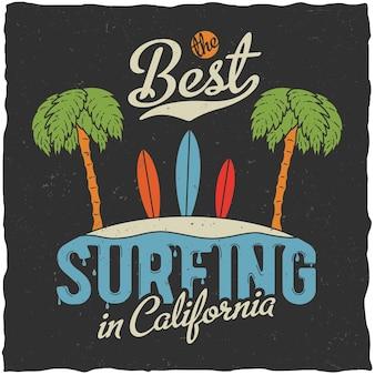 Cartaz do melhor surfe na califórnia com ilustração de palmeiras e praia