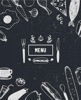 Cartaz do menu, capa com comida desenhada à mão. cartaz de comida, cartão. preto e branco. modelo de menu de restaurante, café