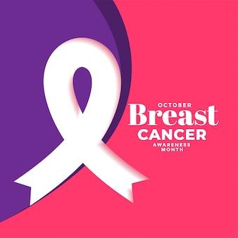Cartaz do mês de câncer de mama criativo com cartaz de fita