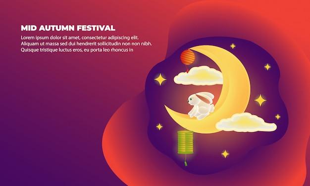 Cartaz do mid autumn festival com meia lua e coelho
