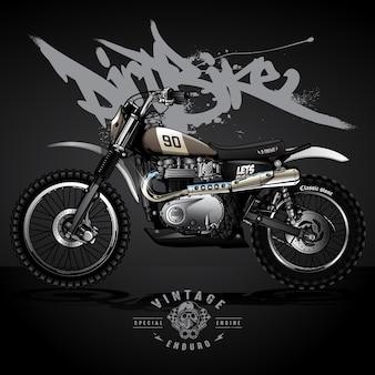 Cartaz do motocross de srambler do vintage