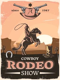 Cartaz do oeste selvagem vintage com descrições de show de rodeio de cowboy desde 1987 e cavaleiro com laço