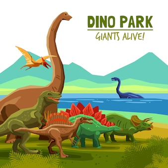 Cartaz do parque de dino