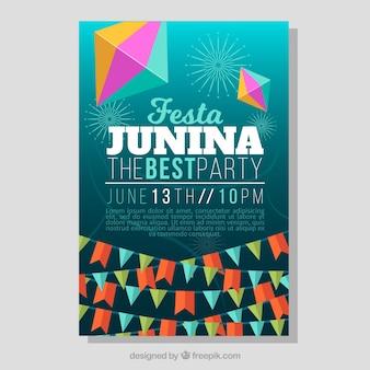 Cartaz do partido com guirlandas para festa junina