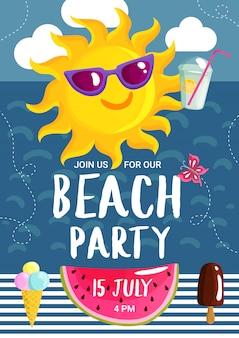 Cartaz do partido da praia do verão