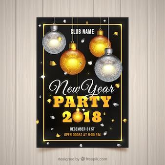 Cartaz do partido de ano novo com baubles dourados e prateados