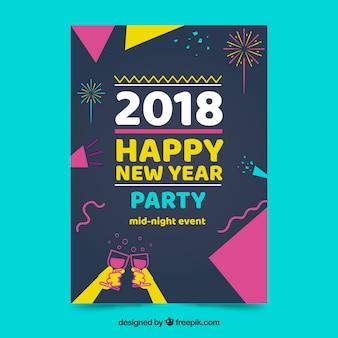 Cartaz do partido de ano novo em estilo memphis