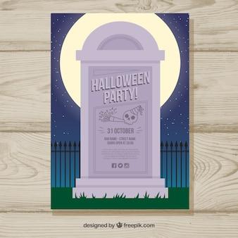 Cartaz do partido de halloween com lápide