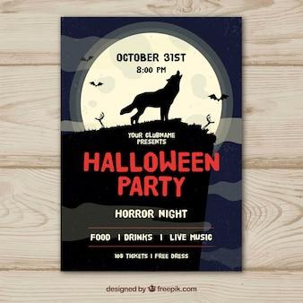 Cartaz do partido de halloween com lobo uivando