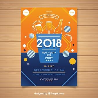 Cartaz do partido do ano novo em laranja e azul escuro