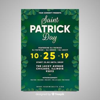 Cartaz do partido do dia de st patrick do quadro do trevo
