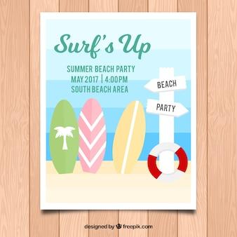Cartaz do partido do verão com três pranchas de ressaca decorativas