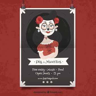 Cartaz do partido mexicano com linda mulher morta