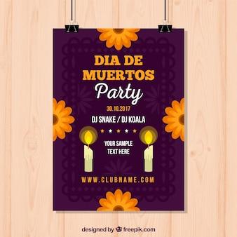 Cartaz do partido mexicano com velas e flores