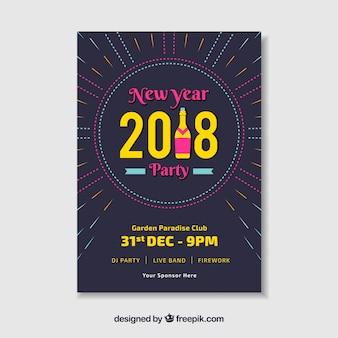 Cartaz do partido plano para ano novo com letras amarelas