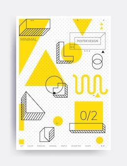 Cartaz do projeto ilustrações brilhantes com elementos geométricos modelo de figura de memphis