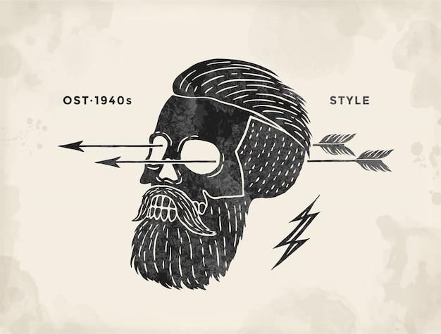 Cartaz do rótulo de hipster caveira vintage. retro velha escola definida para impressão de t-shirt.