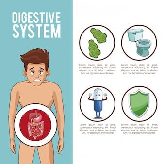 Cartaz do sistema digestivo com informações