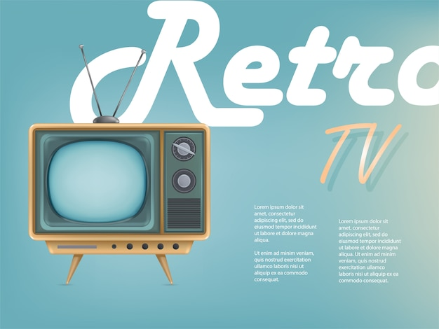 Cartaz do televisor vintage, publicidade televisiva.