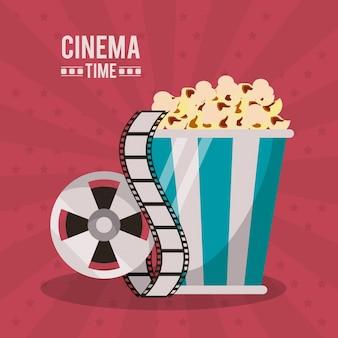 Cartaz do tempo de cinema com pacote de pipoca e bobina de filme