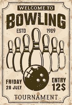 Cartaz do torneio de boliche em ilustração vintage com texturas grunge e texto de exemplo em camadas separadas
