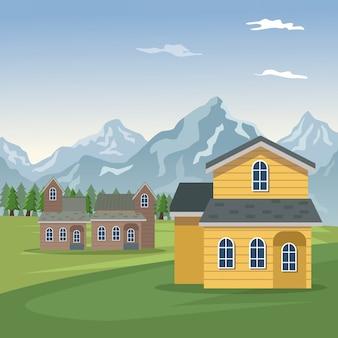 Cartaz do vale da paisagem da montanha com casas de fachadas de floresta e closeup