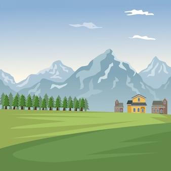 Cartaz do vale da paisagem da montanha com casas de floresta e fachadas