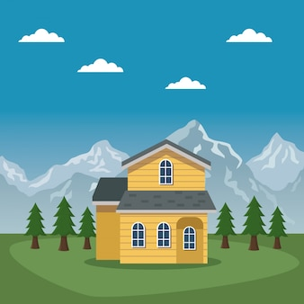 Cartaz do vale da paisagem da montanha da suíça com casa da fachada