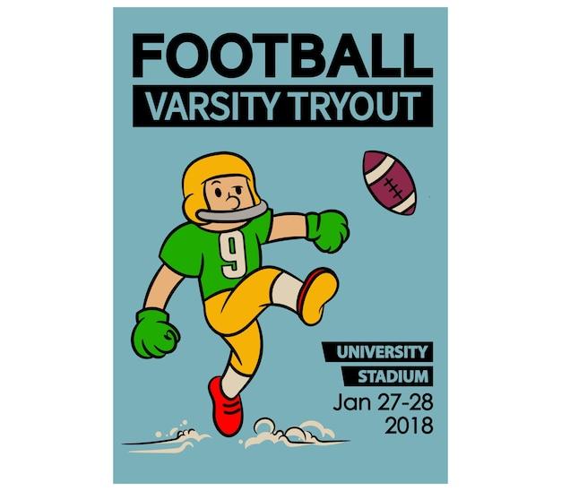 Cartaz do vintage dos desenhos animados da tentativa do varsity do futebol