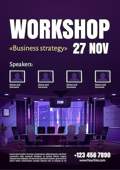 Cartaz do workshop de estratégia de negócios.