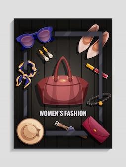 Cartaz dos acessórios das mulheres