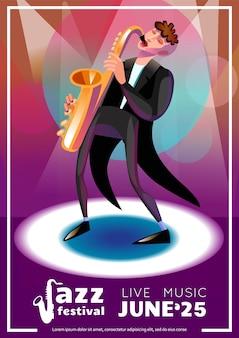 Cartaz dos desenhos animados do festival de jazz