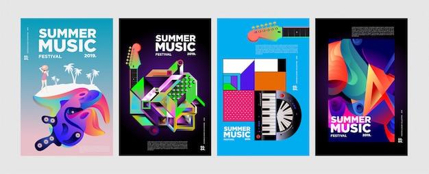 Cartaz e capa coloridos do festival da música e da música do verão