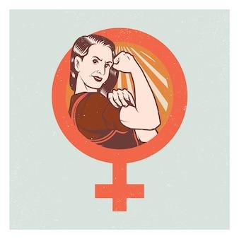 Cartaz e elementos fortes da mulher da propaganda do pop.