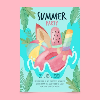 Cartaz e festa de verão em aquarela folhas