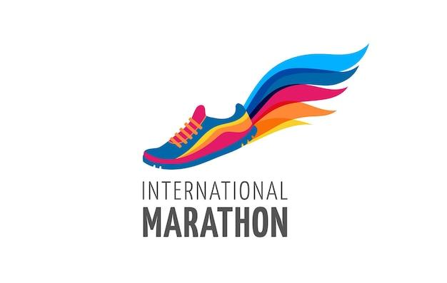 Cartaz e logotipo da maratona de símbolo de ícone de corrida