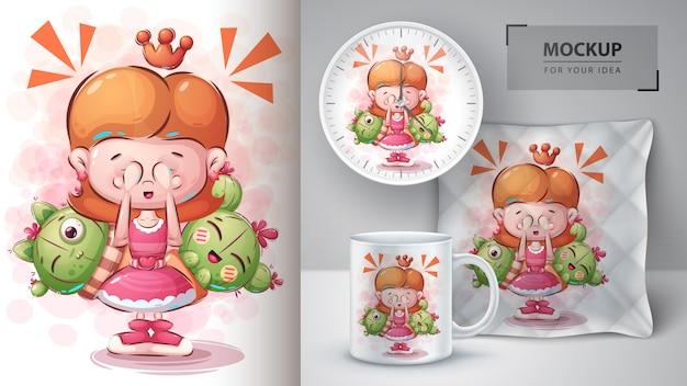 Cartaz e merchandising da garota cacto